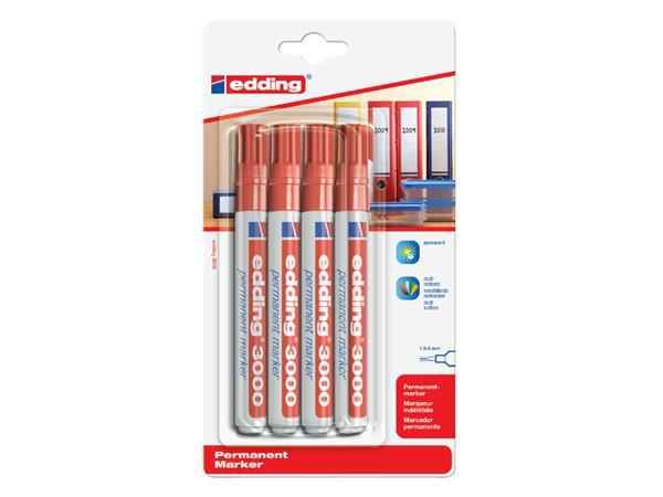 Viltstift edding 3000 rond rood 1.5-3mm blister à 4st