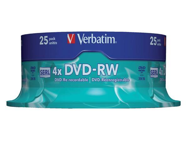 DVD-RW Verbatim 4.7GB 4x spindel 25stuks