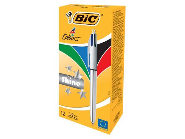 Balpen Bic 4kleuren Shine doos à 12 stuks