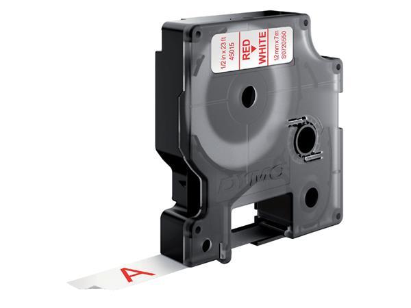 Labeltape Dymo 45015 D1 720550 12mmx7m rood op wit