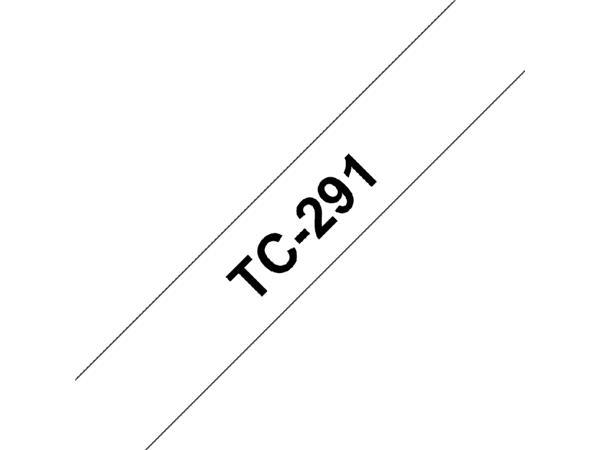 LABELTAPE BROTHER TC-291 9MMX8M WIT/ZWART