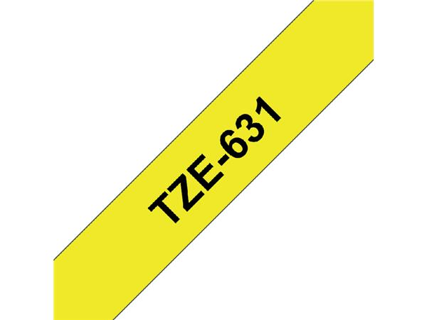 LABELTAPE BROTHER TZE-631 12MMX8M GEEL/ZWART