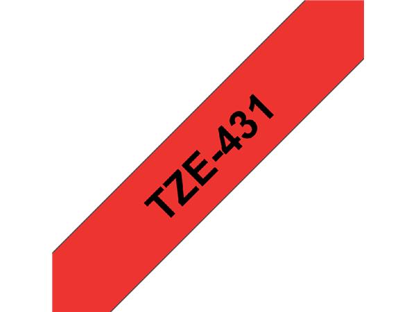 Labeltape Brother P-touch TZE-431 12mm zwart op rood