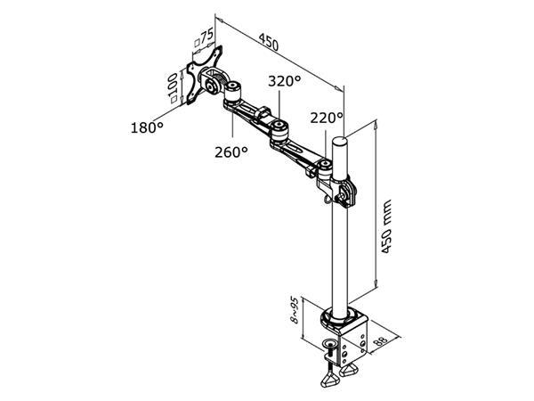 "monitorarm Newstar D935 10-30"" met klem zilvergrijs"