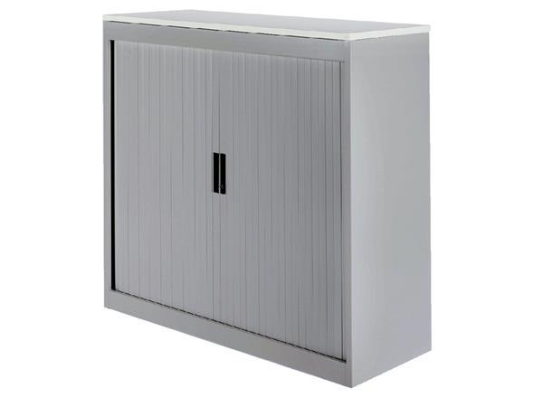 Roldeurkast 30H aluminiumlook met topblad wit