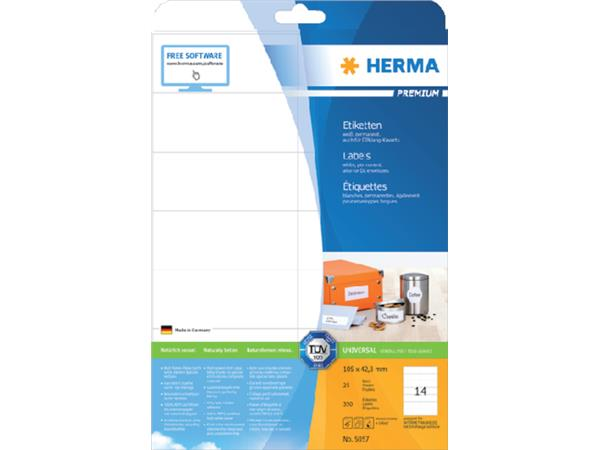 Etiket Herma 5057 105x42.3Mm premium wit 350stuks