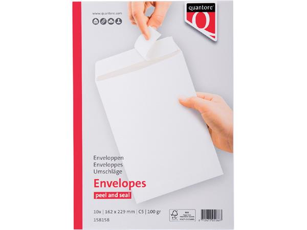 ENVELOP QUANTORE BANK C5 162X229 100GR ZK WIT