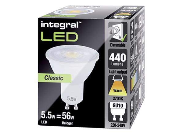 LEDLAMP INTEGRAL GU10 5.5W 2700K DIMBAAR WARM WIT