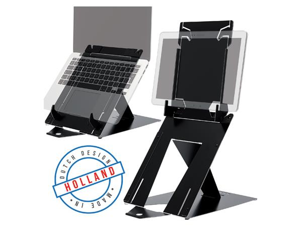 LAPTOPSTANDAARD R-GO RISER DUO LAPTOP/TABLET ZWART