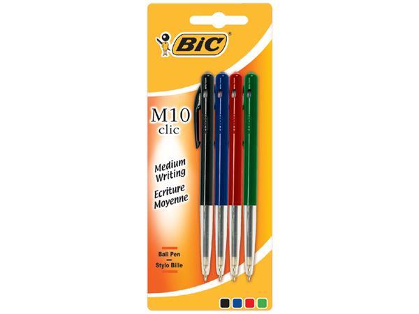 Balpen Bic M10 assorti medium blister à 4st