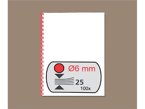 Bindrug GBC 6mm 21rings A4 rood 100stuks