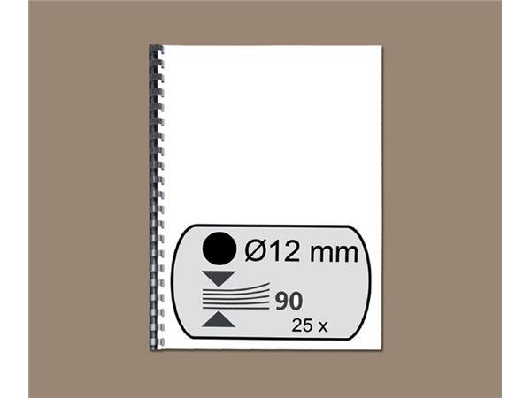 Bindrug GBC 12mm 21rings A4 zwart 25stuks