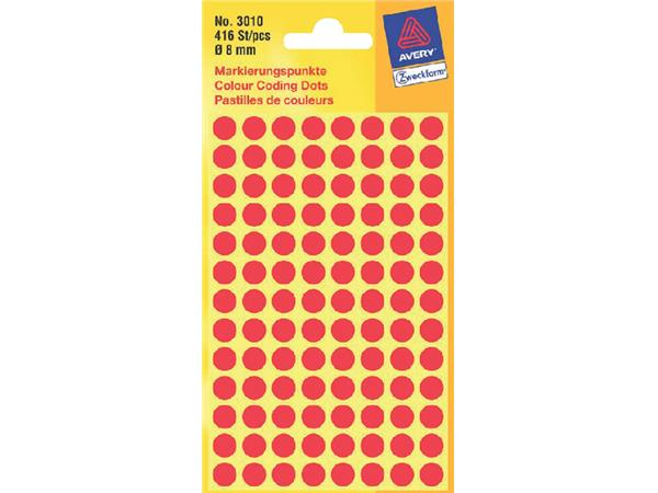 ETIKET AVERY ZWECK 3010 8MM ROOD 416ST