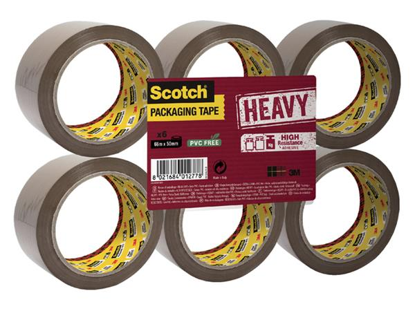 Verpakkingstape Scotch Heavy 50mmx66m bruin 6 rollen
