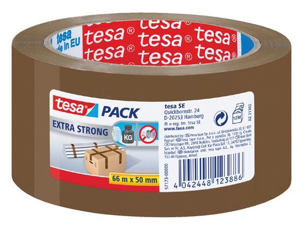 Verpakkingstape Tesa 50mmx66m bruin extra sterk PVC