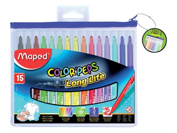 Viltstift Maped Color'peps in etui met rits 15stuks assorti