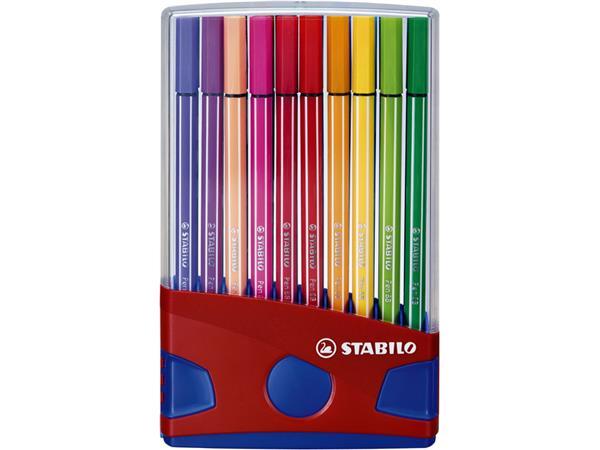 Viltstift++STABILO+Pen+68+ColorParade+rood%2fblauw+etui++%c3%a0+20+kleuren