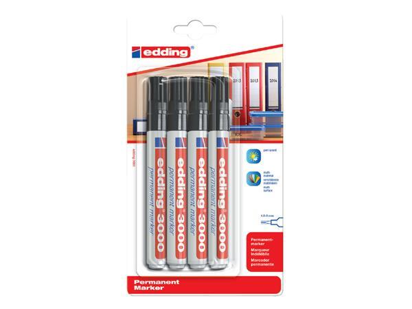 Viltstift edding 3000 rond zwart 1.5-3mm blister à 4st