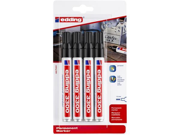 Viltstift edding 3300 schuin 1-5mm blister à 4 stuks zwart
