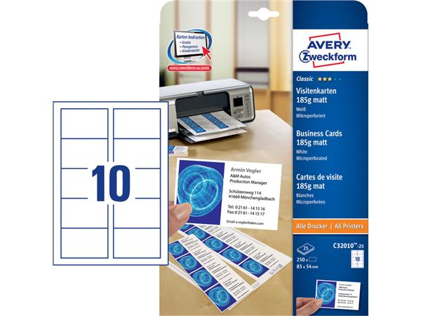 Carte De Visite Avery C32010 25 85x54mm 185g 250 Pieces