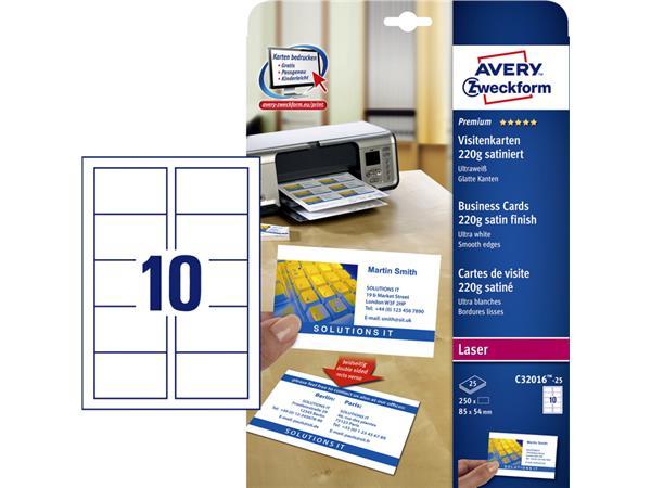 Cartes De Visite Avery C32016 25 85x54mm 220g 250 Pices