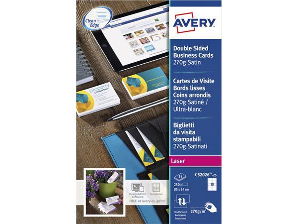 Carte De Visite Avery C3026 25 2 Faces 270g 250 Pices