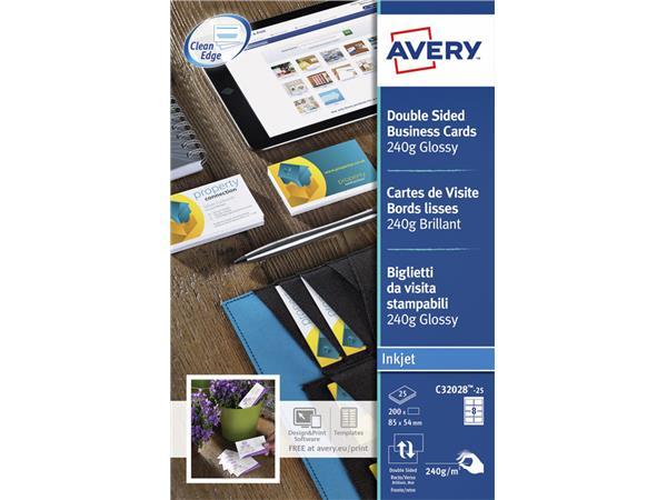 Visitekaart Avery C32028-25 85x54mm 240gr glans 200stuks