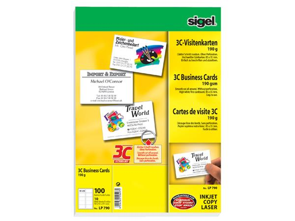 Cartes De Visite Sigel 190g Bords Lisses Blanc