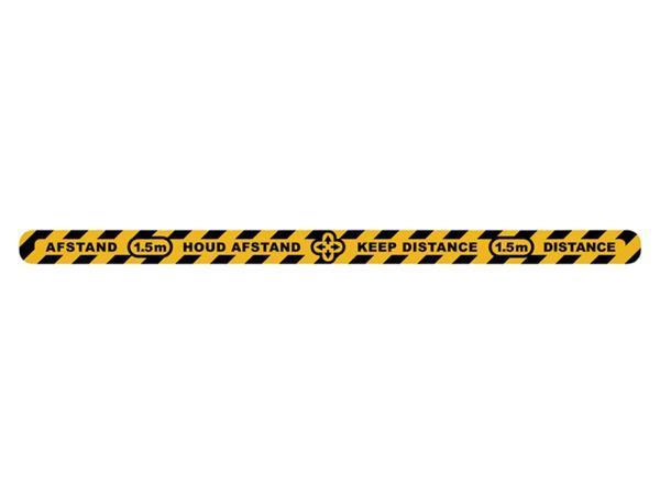 Vloersticker Metafas houd afstand lijn twee-talig geel