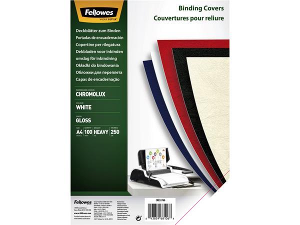 Voorblad Fellowes A4 Chromolux 250gr wit 100stuks