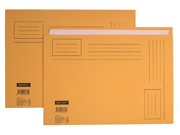 Vouwmap Quantore Folio ongelijke zijde 230gr geel