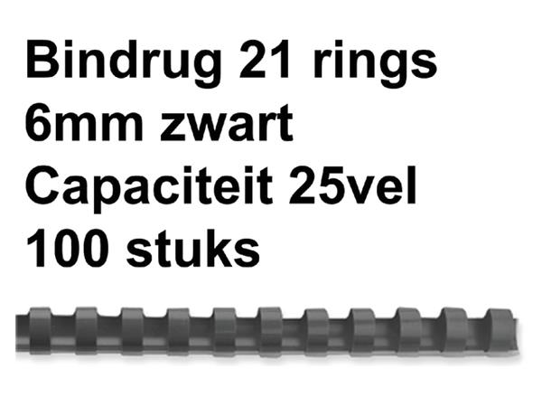 BINDRUG FELLOWES 6MM 21RINGS A4 ZWART