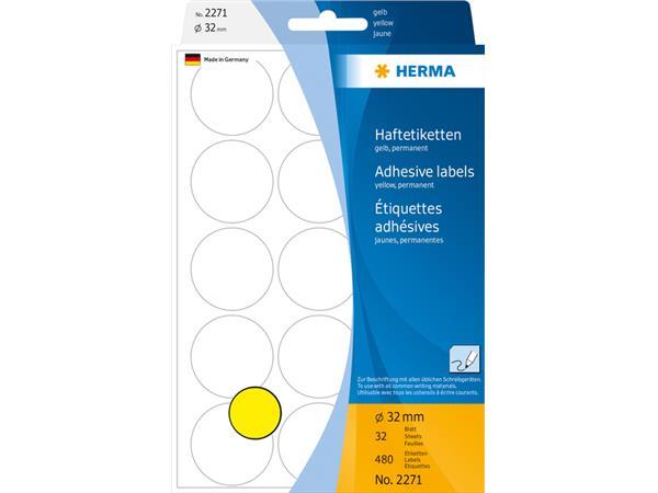 Etiket Herma 2271 rond 32mm geel 480stuks