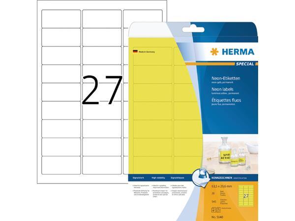 Etiket Herma 5140 63.5x29.6mm neongeel 540stuks