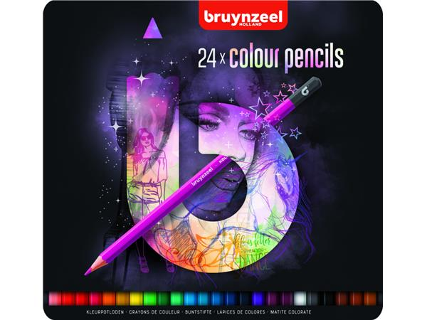 Kleurpotloden Bruynzeel Teens 24stuks roze blik assorti