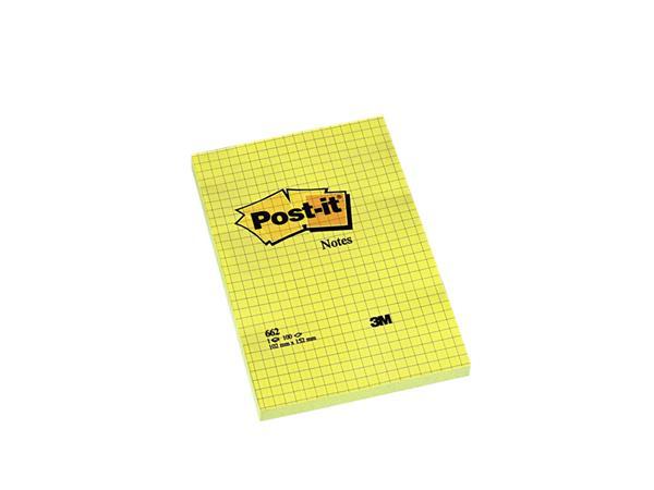 Memoblok 3M Post-it 662YEL 102x152mm ruit geel