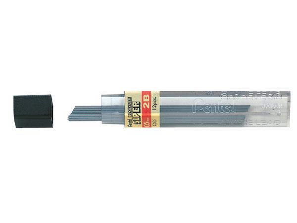 Potloodstift Pentel 0.5mm zwart per koker 2B