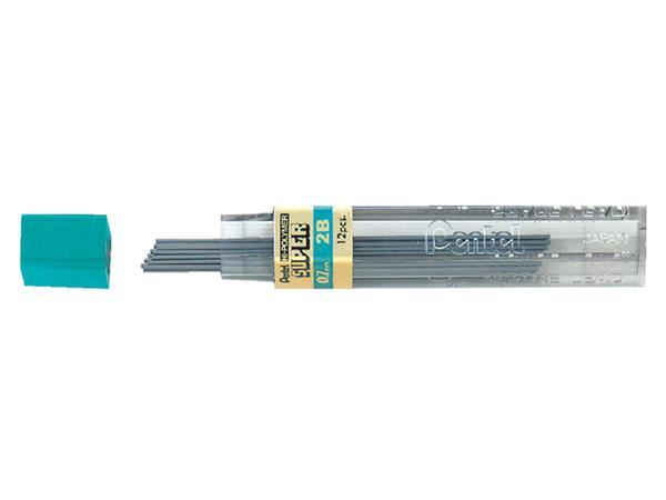 Potloodstift Pentel 0.7mm zwart per koker 2B