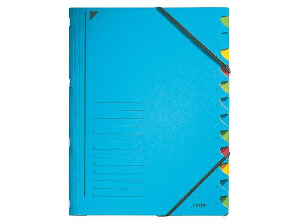 Sorteermap Leitz 3912 12-delig karton blauw
