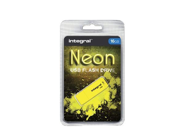 USB-stick 2.0 Integral 16Gb neon geel