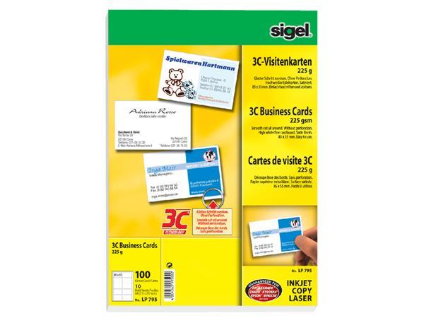 Visitekaartjes Sigel 225gr gladde zijden wit