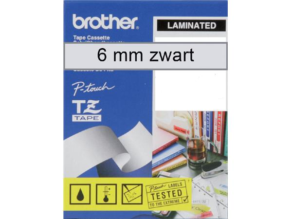 Labeltape Brother P-touch TZE-111 6mm zwart op transparant