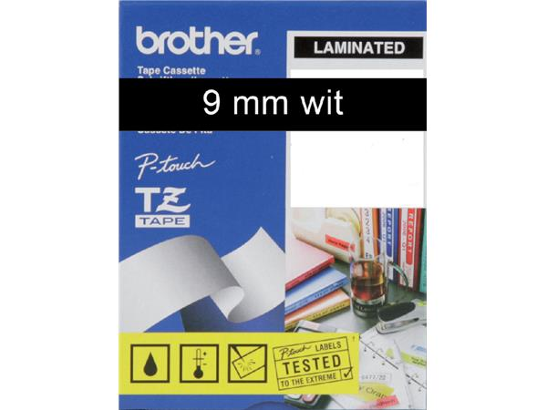 Labeltape Brother P-touch TZE-325 9mm wit op zwart