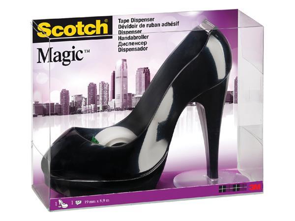 Plakbandhouder Scotch schoen zwart + 1rol 19mmx8.9m