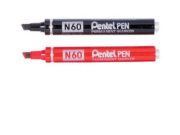 Viltstift Pentel N60 schuin zwart 1.2-6mm