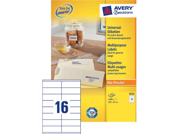 Etiket Avery Zweckform 3423 105x35mm wit 1600stuks