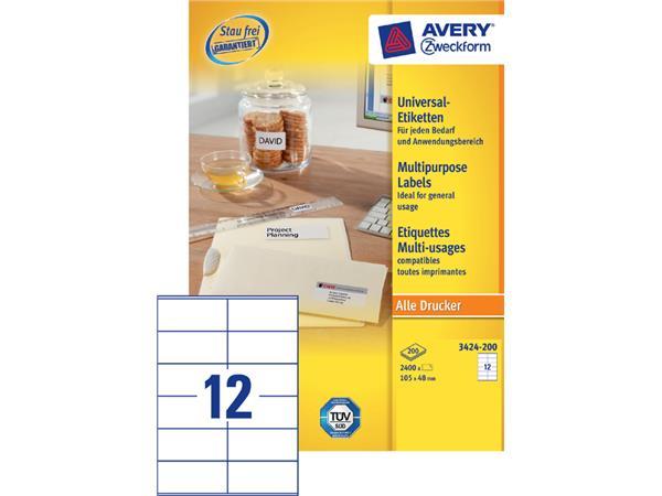 Etiket Avery Zweckform 3424-200 105x48mm wit 2400stuks