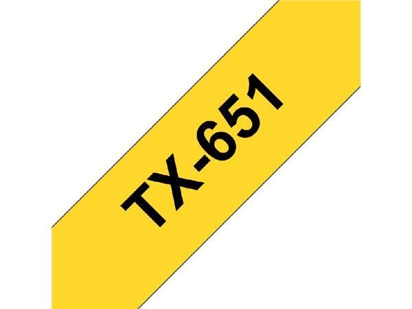 LABELTAPE BROTHER TX-651 24MMX8M GEEL/ZWART