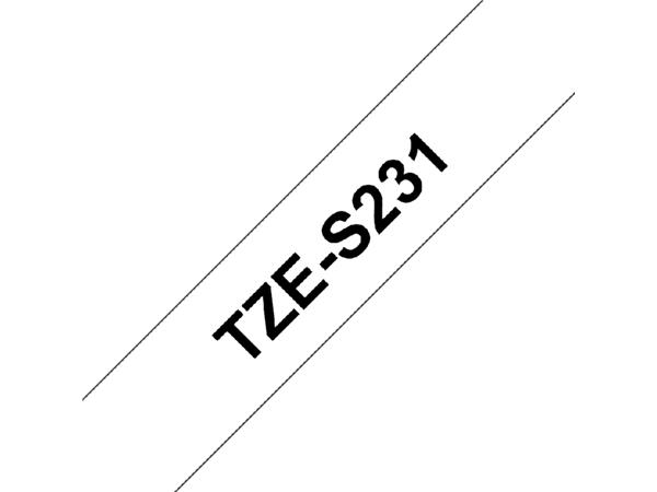 Labeltape Brother P-touch TZE-S231 12mm zwart op wit