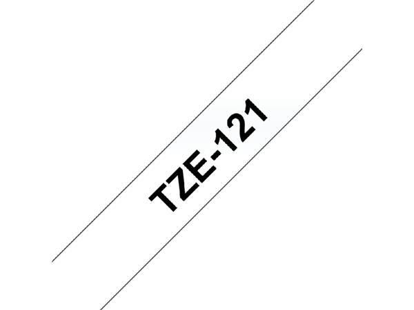 Labeltape Brother P-touch TZE-121 9mm zwart op transparant